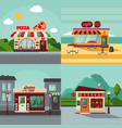 colorful building facades square concept vector image