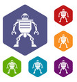 humanoid robot icons set hexagon vector image
