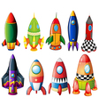 Colorful rockets vector image