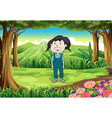 A small child at the jungle vector image vector image