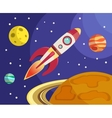 Rocket in space print vector image