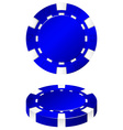 Blue casino chips front and side vector image vector image