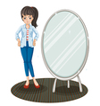 A girl with a jacket standing beside a mirror vector image