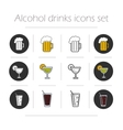 Alcoholic drinks icons set vector image