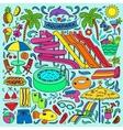 Aquapark colorful doodle set vector image