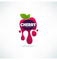 bright sticker emblem and logo for cherry flavor vector image