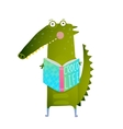 Childish Student Crocodile Reading Book and Study vector image