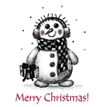 christmas card with snowman drawing by hand vector image