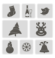 monochrome icons with Christmas symbols vector image