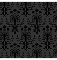 Seamless black floral wallpaper vector image