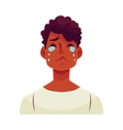 Young african man face crying facial expression vector image