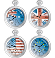 Clocks with flags vector image vector image