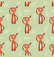 seamless pattern with cute jungle orange tiger vector image
