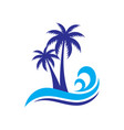 palm wave travel logo vector image