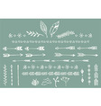 Hand drawn vintage arrows feathers dividers vector image vector image