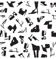 Seamless pattern with black silhouettes of shoes vector image