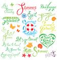 set summer calligraphy 380 vector image