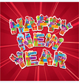 Abstract Happy New Year red background vector image