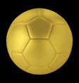 gold soccer ball on black background golden vector image