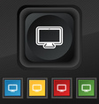 monitor icon symbol Set of five colorful stylish vector image