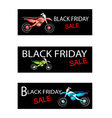 Motorcycle on Three Black Friday Sale Banners vector image