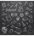 School doodle on a blackboard background vector image