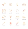 Sewing equipment icons set flat line vector image
