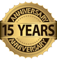 15 years anniversary golden label with ribbons vector image