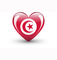 Heart-shaped icon with national flag of Tunisia vector image vector image