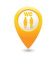 toilet6 map pointer yellow drop vector image vector image