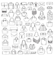 Large set of black and white doddle fashion vector image