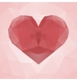 Red heart made of transparent triangles on a pink vector image