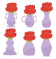 Set of flowers in a vase vector image vector image