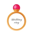 Beautiful Wedding Ring with Red Gemstone vector image