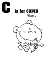 Cupid baby cartoon with letter vector image