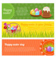 happy easter horizontal banners set vector image