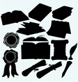 Set books and parchments scrolls vector image