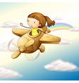 airplane and girl vector image vector image
