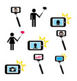 selfie stick with mobile or cell phone icons set vector image vector image