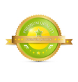 Premium Quality Green Gold Label vector image
