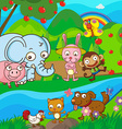 Cute animals together at the river vector image