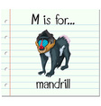 Flashcard letter M is for mandrill vector image