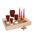 Candles with Red Wine in Wooden Container vector image