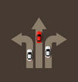 car moving in different directions leader concept vector image