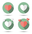 Hearts in flat icon style vector image