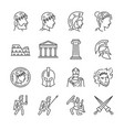 roman empire line icon set vector image