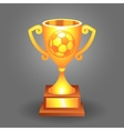 Soccer ball trophy gold cup bacground vector image