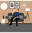 man people drinking water from bottle sitting vector image