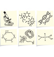 Biology and chemistry icons on yellow memo sticks vector image