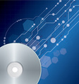 cd dvd disk on blue digital background vector image
